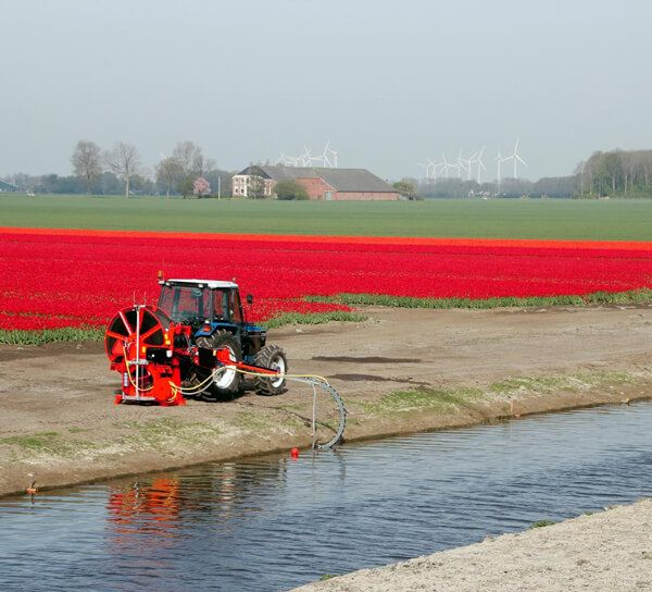 A drain jetter cleans clogged field drainage, a great water drainage solution.